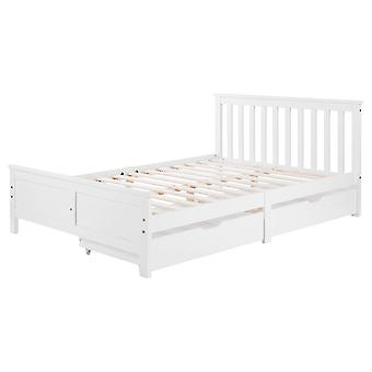 Wooden Solid White Pine Doublebed With Drawers