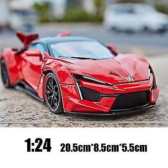 Toy cars 1:24 lykan hypersport fenyr die cast alloy car model collectibles present children's toy car red