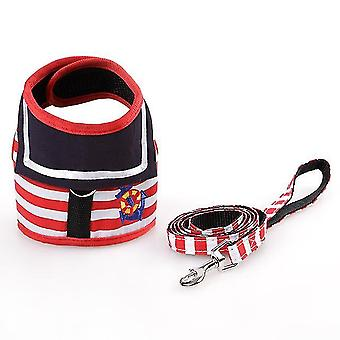 Cn adjustable dog collar harness leash creative navy suit style chest strap secure traction rope for