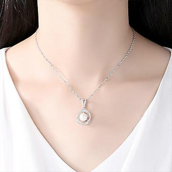 925 Silver Chain Pearl Necklace Pendant Natural Freshwater Pearl Jewelry Link Party  |Necklaces