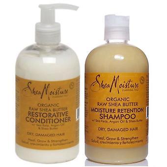 L'humidité Shea karité cru réparatrice shampooing et le revitalisant 13oz