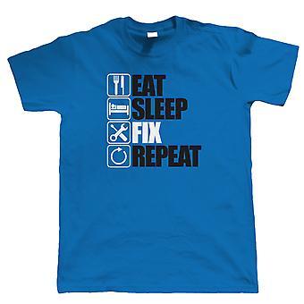 Eat Sleep Fix Repeat, T Shirt - Cadeau ingénieur mécanicien pour lui papa Anniversaire