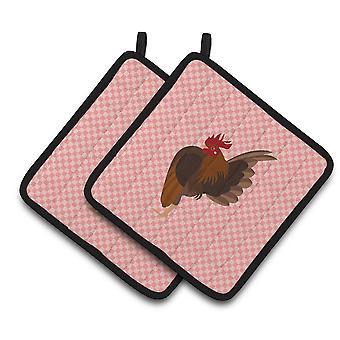 Malaysian Serama Chicken Pink Check Pair of Pot Holders