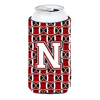 Letter N Football Cardinal and White Tall Boy Beverage Insulator Hugger