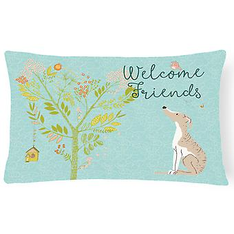 Welcome Friends Whippet Canvas Fabric Decorative Pillow
