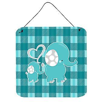 Momma plaid e Baby Elephant parete o porta appeso stampe