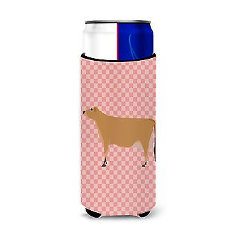 Jersey Cow Pink Check Michelob Ultra Hugger for slim cans
