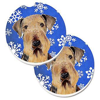 Airedale sneeuwvlokken wintervakantie Set van 2 Cup houder auto Coasters