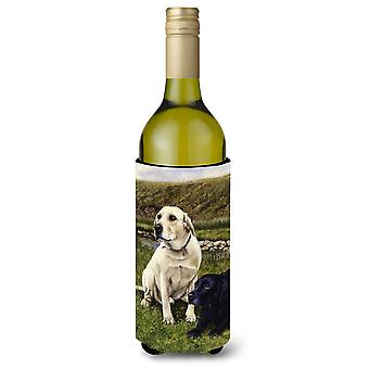 Yellow and Black Labradors Wine Bottle Beverage Insulator Hugger