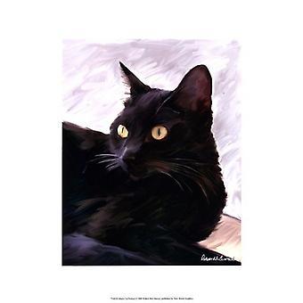 Svart katt portrett Poster trykk av Robert McClintock (13 x 19)