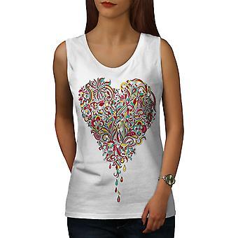 Farverige hjerte kvinder WhiteTank Top | Wellcoda