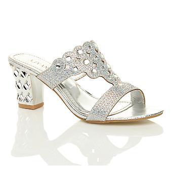 Ajvani kvinners midten av høy blokkere hæl prom diamante kvelden slip på muldyr sandaler