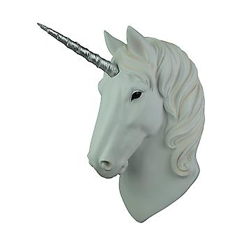 Highly Detailed White Unicorn Silver Horn Head Bust Wall Hanging Plaque