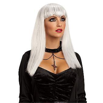 زي بريق الرقعة مصاص دماء Vampiress الملاك الأبيض المرأة شعر مستعار