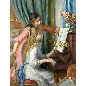 שתי נערות צעירות בפסנתר אמנות משובחת