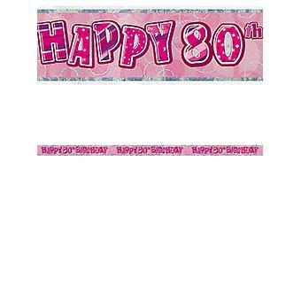 Bannière anniversaire Glitz rose 80thanniversaire prisme