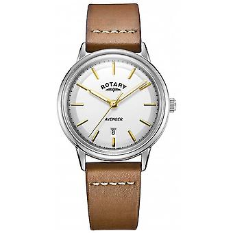 Rotary Mens Avenger Silver Tone Case Tan Leather Strap GS05340/02 Watch