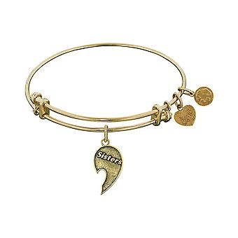 Stipple Finish Brass Right-Half Heart Sisters Angelica Bangle Bracelet, 7.25""