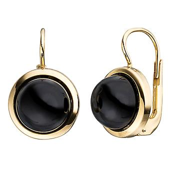 Boutons around 333 Gold Yellow Gold 2 Onyxe black earrings gold earrings