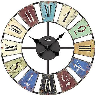 Wall clock quartz wall clock wall clock quartz metal multi colored printed