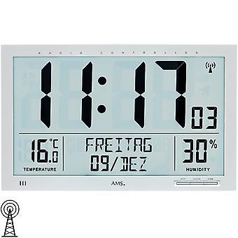 AMS 5888 wall clock clock radio radio controlled wall clock digital date alarm clock thermometer