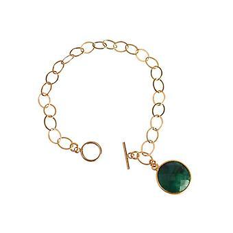 Bracelet émeraude vert émeraude bracelet argent doré