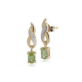 Aretes colgantes clásicos ovalados de peridoto y diamantes en oro amarillo 135E0944149