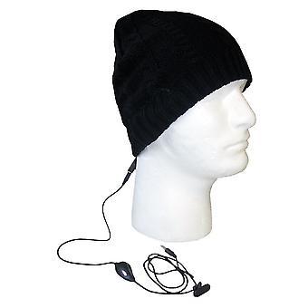 Кабель стерео Tech босс технология шапка с встроенными стерео наушники (черный)