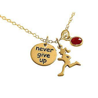 Gemshine Chain Runner-ge aldrig upp 925 silver, guldpläterad, Rose jogging ruby