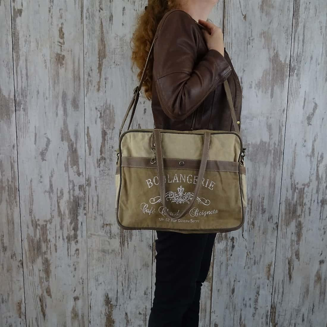 Myra Bag Canvas Schoudertas met Leer Delphine