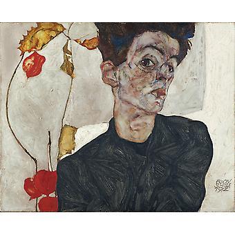 Selvportrett med kinesisk lanterne, Egon Schiele, 32,2 x 29,8 cm