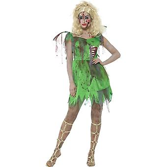 Zombie Fairy Costume, Green, with Dress, Attached Latex Ribs & Wings