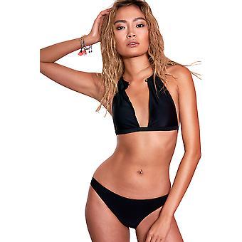LMS Black Plunge Neckline Bikini With Metal Hoop Neckline Detail - SAMPLE