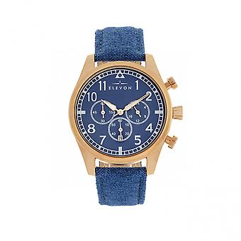 Elevon Curtiss Chronograph Nylon-Overlaid Leather-Band Watch - Rose Gold/Blue