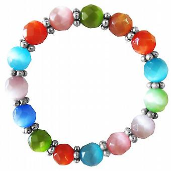MultiColor Cat Eye Stretchable Bracelet 9mm Faceted Bead Daisy Spacing