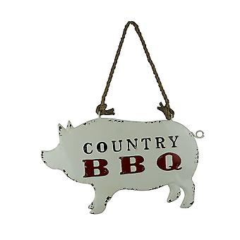 Weathered White Metal Country BBQ Pig Shaped Hanging Sign