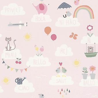Chicas rosa guardería Wallpaper nubes arco iris las aves gatos mariposas infantil