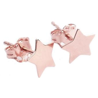 Ah! Jewellery 18K Rose Gold Over Sterling Silver 6mm Star Studs