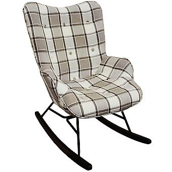 Check - Wing Back Rocking / Nursing Chair With Checked Tartan Fabric - Grey / White / Black