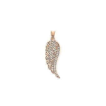 Belle & Beau Rose Gold Plated Pave Crystal Angel Wing Pendant