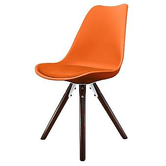 Fusion Living Eiffel Inspired Orange Plastic Dining Chair With Pyramid Dark Wood Legs