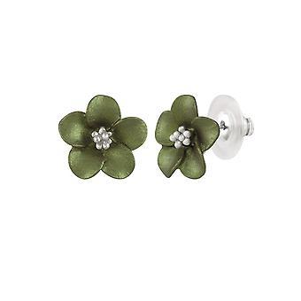 Eternal Collection Anemone Green Enamel Silver Tone Stud Pierced Earrings