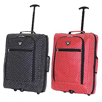 Slimbridge Montecorto Set of 2 Cabin Luggage Bags, (Set of Black Dots and Red Dots)