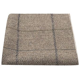 Luxury Light Khaki Brown Herringbone Check Pocket Square, Handkerchief, Tweed