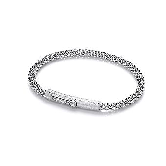 Jewelco London Ladies Rhodium Plated Silver White Round cubic zirconia Scroll Clasp Correana Cage Charm Bracelet