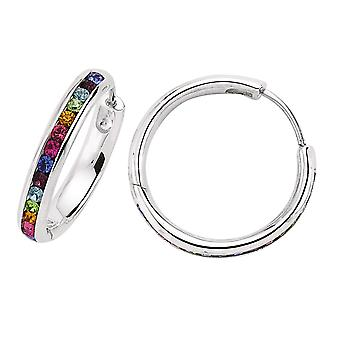 Jewelco London Rhodium Plated Sterling Silver Rainbow Round Brilliant Cubic Zirconia Eternity Hoop Earrings mm
