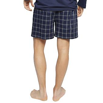 Cyberjammies 6399 Men's Harper Navy Blue Mix Check Cotton Pyjama Short
