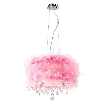 Diyas Ibis Pendant With Pink Feather Shade 3 Light Polished Chrome / Crystal
