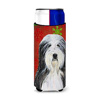 Bearded Collie Red and Green Snowflakes Holiday Christmas Ultra Beverage Insulat