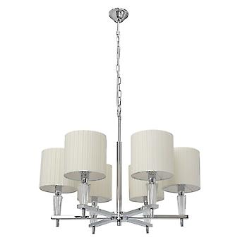 Glasberg  -  Chrome Six Light Pendant With White Shades And Crystal Decor  460010706